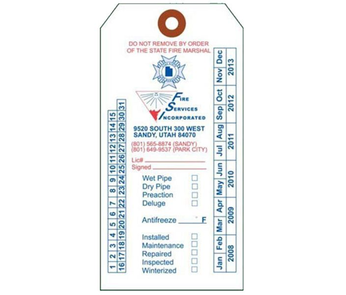 Fire Extinguisher Annual Inspection Tags