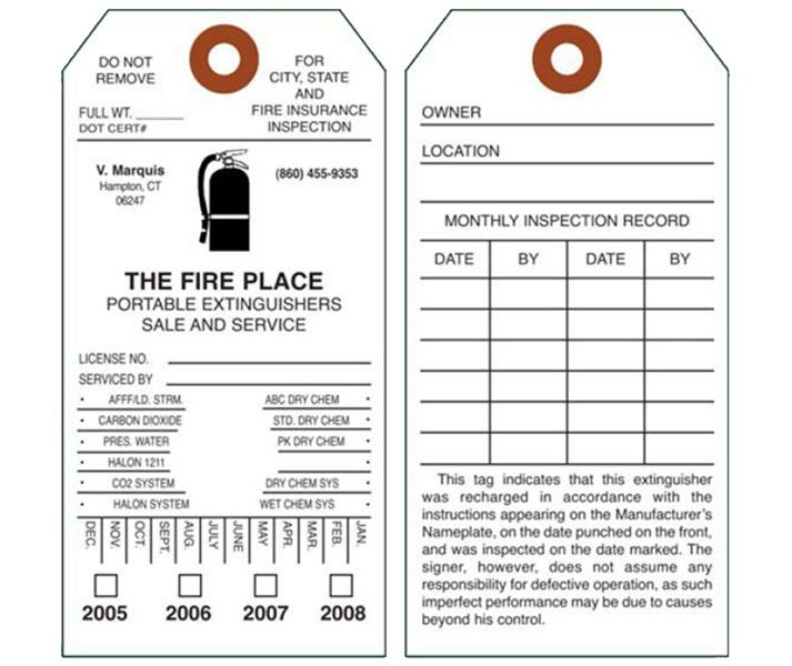 image relating to Printable Fire Extinguisher Inspection Tags referred to as Fireplace Extinguisher Inspection Heritage Tags