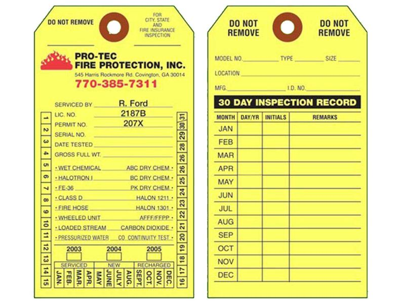 graphic regarding Printable Fire Extinguisher Inspection Tags named Hearth Extinguisher Inspection History Tags
